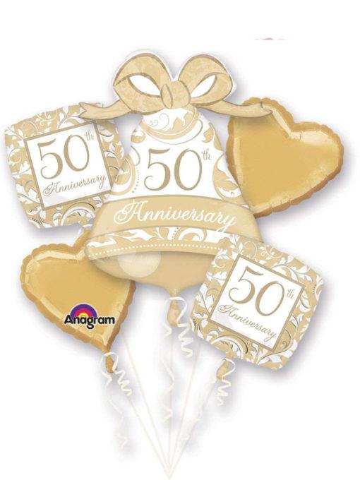 Gold Scroll 50th Anniversary Balloon Bouquet