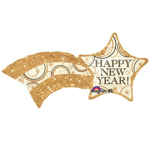 27inch SuperShape New Years Shooting Gold Star Balloon